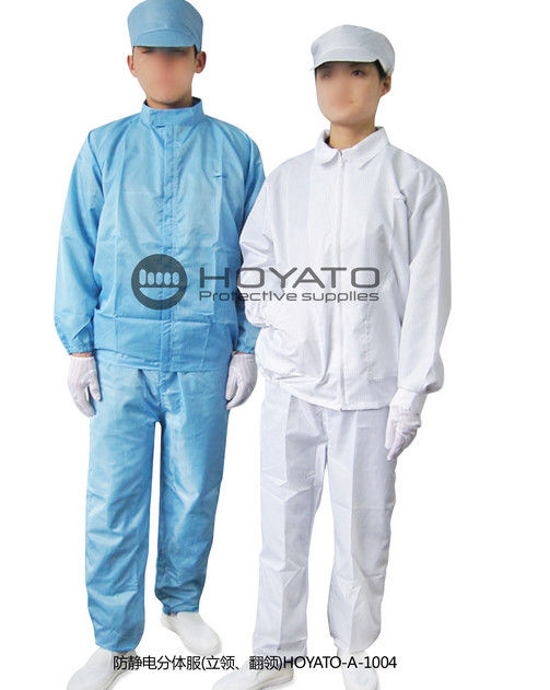 Comfortable ESD Stand Collar Anti Static Suit , Clean Room Lab Coats With Pull Chain