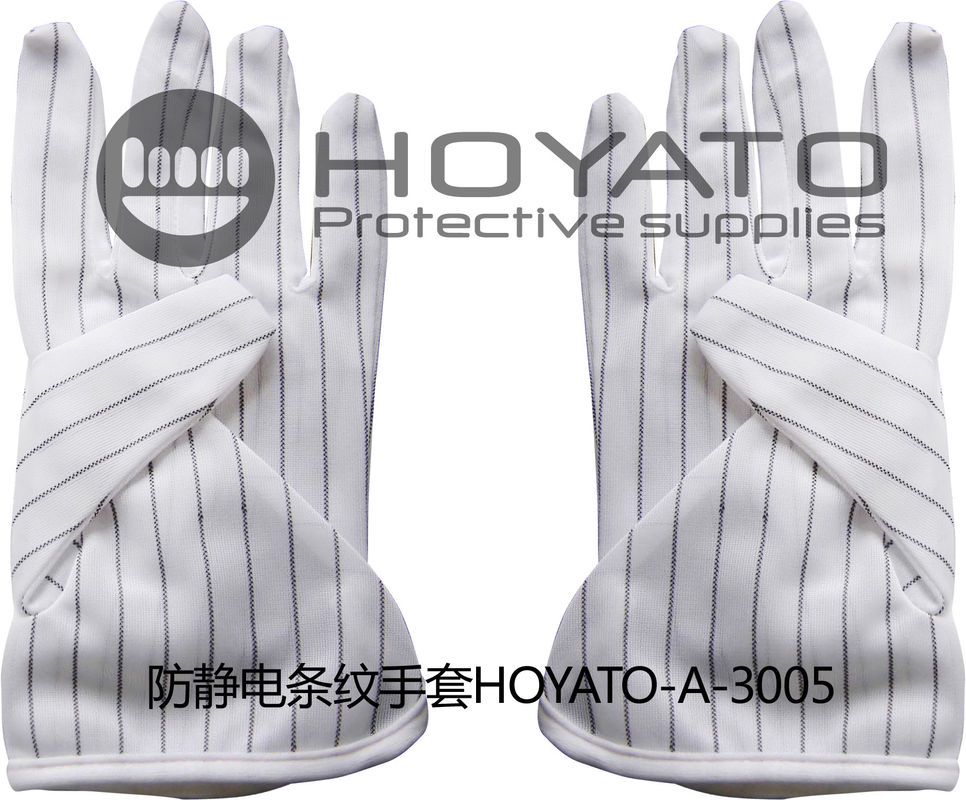 ESD Anti Static Gloves White Two Sided Striated Gloves For PCB Board Manufacturing